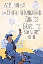 RARE Original 1910s German Bicycle Club Poster