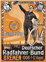 RARE Original 1900s German Bicycle Poster Bremen