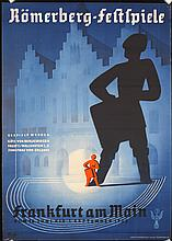 Original 1930s German Travel Poster Romerberg Theater