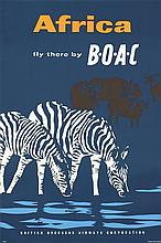 Original 1950s BOAC Africa Airline Travel Poster ZEBRAS