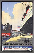 RARE 1930s FRENCH LINE Travel Poster SEBILLE Art Deco