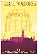 Old Original 1920s LUDWIG HOHLWEIN German Travel Poster