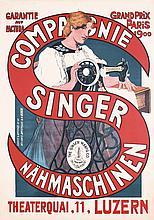 Original 1900 Art Nouveau Singer Sewing Machines Poster