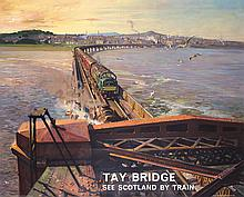 Old 1950s British Rail Travel Poster CUNEO Tay Bridge