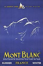 Original 1950s/60s Mont Blanc France Travel Poster