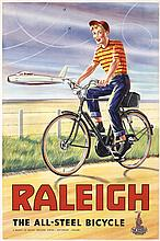 Original American RAKLEIGH Bicycle Poster 1950s Boy + Airplanes