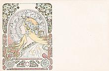 Original Vintage 1890s ALPHOJNSE MUCHA ZODIAC Postcard