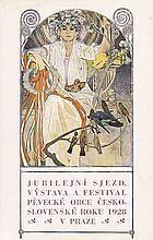 Original Vintage 1920s ALPHONSE MUCHA Postcard Czech