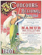 Original 1900s Art Nouveau Agricultural Expo Poster