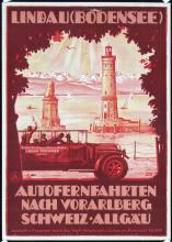 Original 1920s German Travel Poster AUTOMOBILE Lindau