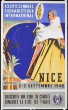 Original 1940s Nice France Church Congress Poster