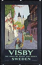 Original 1930s Swedish Travel Poster Wisby IVAR GULL