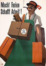 2 Original 1940s Swiss Travel Posters GAUCHAT + MONNERA