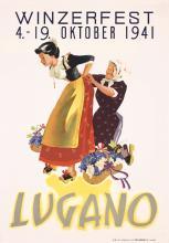 Original 1940s Swiss Lugano Wine Festival Travel Poster