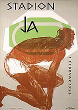 Old 1950s HANS FALK Swiss Design Sports Poster Runner