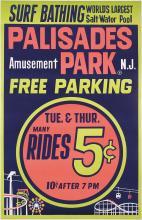 RARE 1940s Palisades Amusement Park Travel Poster