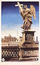 Old Original 1940s Italian Travel Poster ROMA