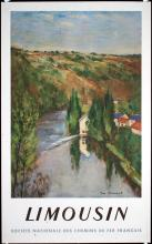 Old Original 1940s French Rail Travel Poster Limousin