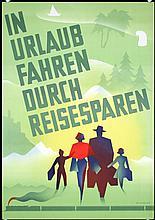 Old Original 1950s German Rail Travel Poster MAHLER Art