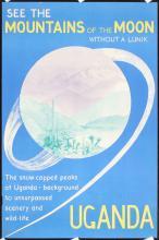 Original Vintage 1950s Uganda Africa Travel Poster