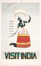 Original 1950s India Travel Poster Dancer