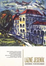 Original 1950s Czech Travel Poster LAZNE JESENIK