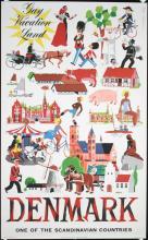 Original 1950s Travel Poster Denmark Vacation Land