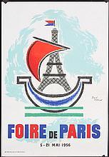 Old Original 1950s Paris Travel Poster JEAN COLIN Art