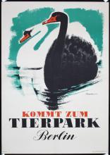 Original 1950s German Berlin Zoo Poster SWANS