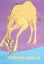 Original 1950s German Berlin Zoo Poster GIRAFFES