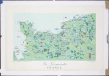 Original 1950s French Map Travel Poster NORMANDIE