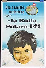 Original 1950s SAS Airline Travel Poster Polar Route