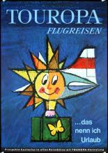 Old Original 1950s German Travel Poster Touropa