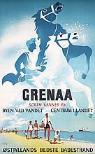Original 1950s Danish Beach Travel Poster Plakat GRENAA