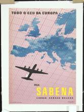 2 Original Vintage 1950s Sabena Airline Travel Posters