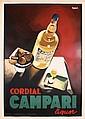 HUGE RARE 1920s Italian CAMPARI LIQUOR Poster NIZZOLI