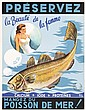 Set of 4 Original 1940s Posters Plakate Fish and Beauty