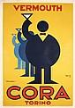 Original 1930s VERMOUTH CORA Art Deco Italian Poster