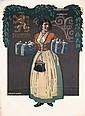 Original 1910 Munich Loewenbrau Beer Poster Woman