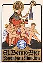 ORIGINAL 1930s German Beer Poster Munich OBERMEIER