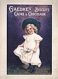 Original 1900s Chocolate Cacao Girl Advertising Poster