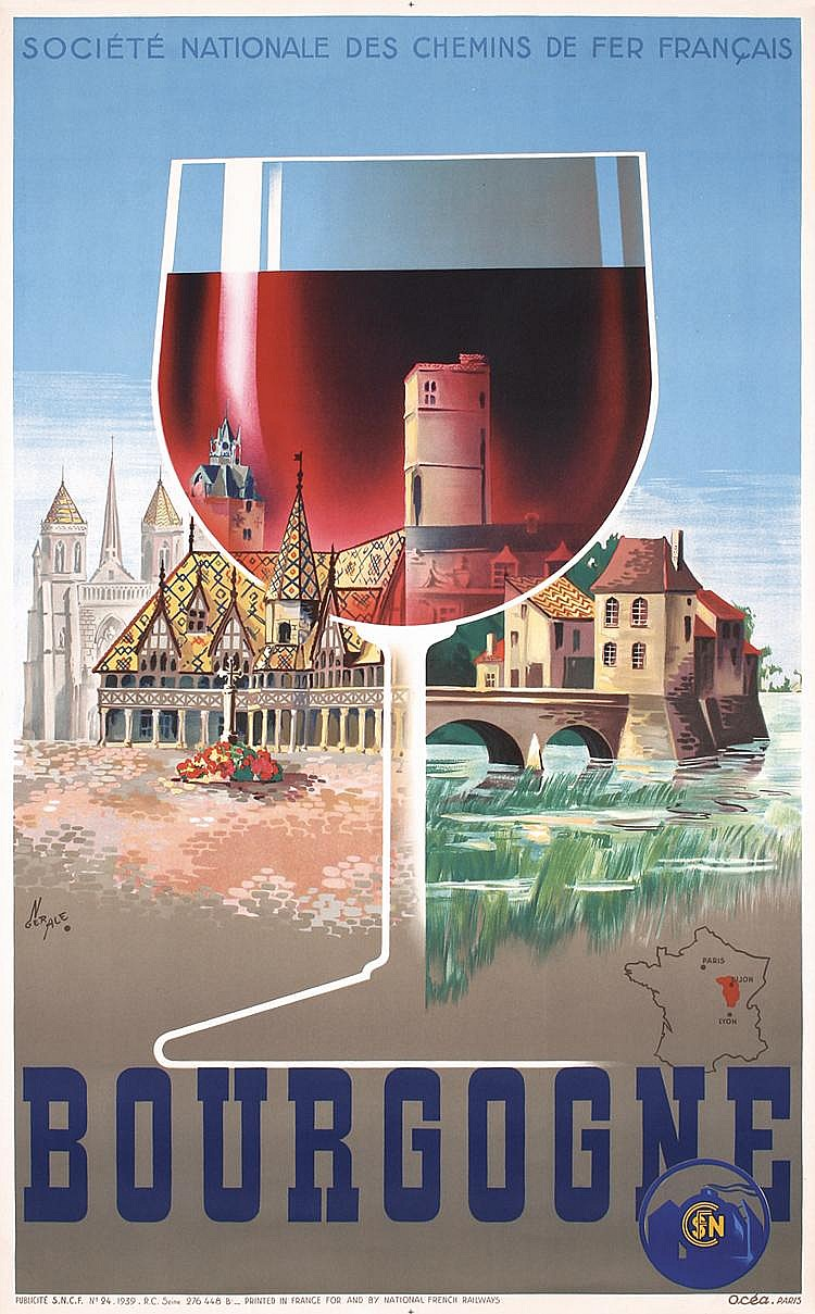 Original 1930s Fench Travel Poster Bourgogne RED WINE