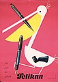 Original 1950s LEUPIN Swiss Pelikan Fountain Pen Poster