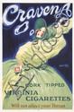 RARE Original 1920s JEAN D´YLEN Craven A Tobacco Poster