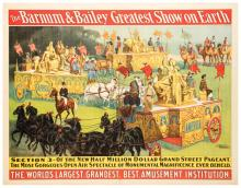 Barnum and Bailey Greatest Show on Earth. Parade Section 3. The New Million Dollar Grand Street Pageant. Cincinnati: Strobridge Litho, ca. 1903. One sheet (39 x 30?). Linen mounted.Chipping on bottom margin, central crease, and light soiling.