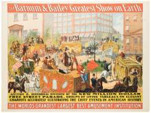 Barnum and Bailey Greatest Show on Earth. Parade Section 6. The New Million Dollar Free Street Parade. Cincinnati: Strobridge Litho, ca. 1900. One sheet (40 x 30?). Linen mounted.Central fold, repaired marginal chipping and tears.