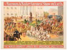 Barnum and Bailey Greatest Show on Earth. Parade Section 8. Racing and Zoological Division of the New Million Dollar Free Street Parade. Cincinnati: Strobridge Litho, ca. 1900. One sheet (40 x 30?). Linen mounted. Center crease with marginal chipping.