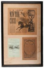 Framed Forepaugh and L.B. Lent Circus Ephemera. 1880s. Including a blank 1883 courtesy form for Robert Black, train master at the Great Forepaugh Show; a testimonial from Dan Rice to Adam Forepaugh from the Chicago Evening-Journal (1880s); and a trimmed program article on an equestrienne of the L.B. Lent New York Circus. Framed together 15 ½ x 24?. Good.