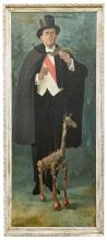 Putman, Donald (American, 1926 ? 2007). Portrait of Giraffe Marionettist. Circa 1980s. Vintage large-format oil on canvas full-length portrait in a floral wooden frame portraying a somber-looking marionettist in cape and top hat cradling his giraffe figure. 27 ½ x 63 ½?. Signed by the artist ?Putt? in lower right corner.