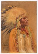 Scheuerle, Joseph (American, 1873 ? 1948). Portrait of John Sitting Bull. Sioux Tribe. 1936. Gouache on board. Signed by the artist and inscribed to Sam Gumpertz, sideshow operator and manager of the Ringling Brothers and Barnum & Bailey Circus. Extensive biographical notes on verso concerning the subject, son of the famous Indian chief Sitting Bull, with the latter of whom the artist had a long-term friendly relationship. 9 x 13 ¾?.Varnished. Very good. The artist worked for the Strobridge Lithographing Co. of Cincinnati before moving to Chicago. He is well-known for his Native American paintings and for his posters for the Buffalo Bill Wild West Show.